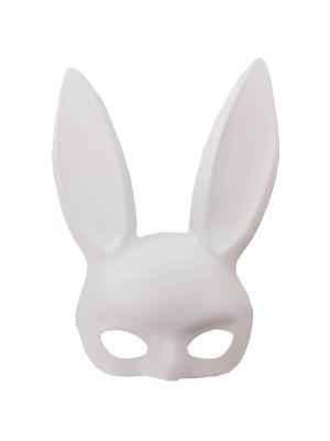Matt White Bunny Girl Masquerade Mask with Bunny Ears