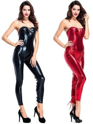 Metallic Black Devilish Shiny Jumpsuit Sexy Halloween Fancy Dress Costume – UK 8