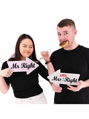 Mr Right & Drinking Buddy, Double-Sided PVC Arrow Photo Booth Word Board Signs