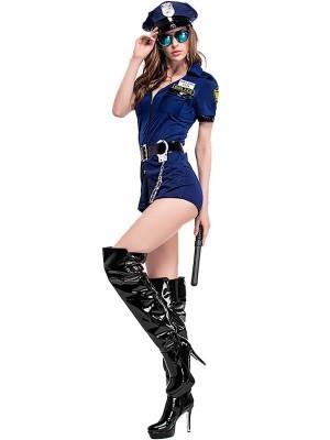 Navy-Blue Female Cop Fancy Dress Costume