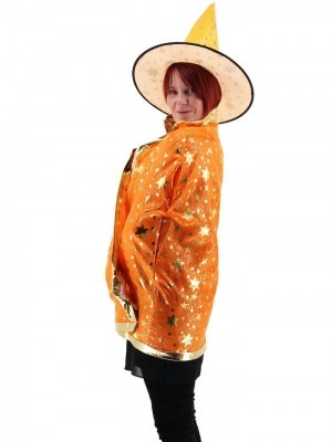 Wizard Witches Hat & Cloak Set In Orange