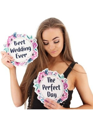 'The Perfect Day' Flower Wreath Wedding Word Board Photo Booth Prop