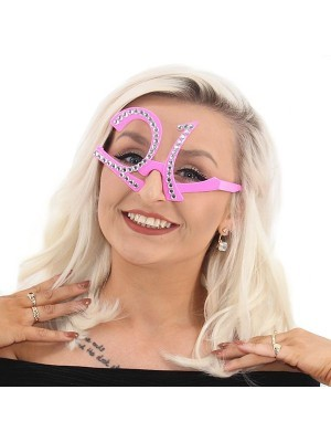 Pink '21' Birthday Shaped Diamante Sunglasses