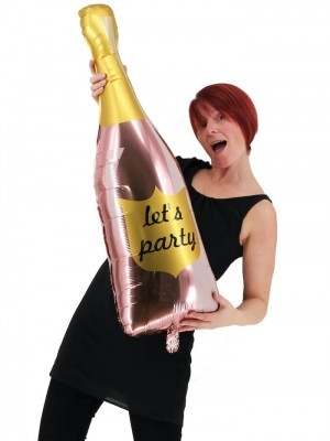 Giant Pink 'Let's Party' Champagne Bottle