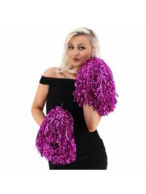 Set Of 2 Glitzy Cheerleader Pom Poms In Hot Pink