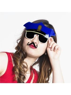 Police Captain Cap and Moustache Sunglasses