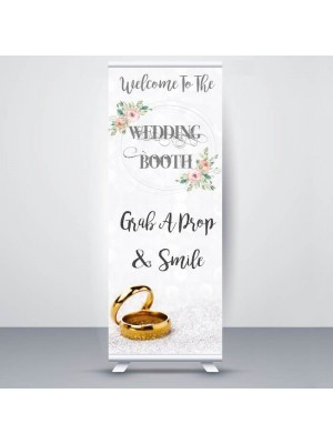 Pretty Glitzy Sand With Gold Rings 'Wedding Booth' Pop Up Roller Banner