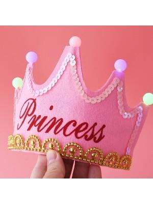 Pink 'Princess' Birthday Crown LED Light Up Tiara