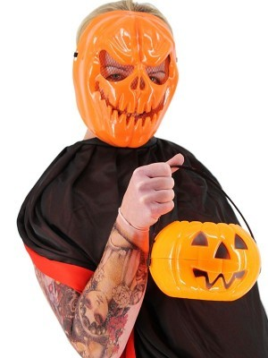 Creepy Pumpkin Jack O'lantern Style Face Mask Halloween Fancy Dress Costume
