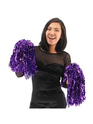 Set Of 2 Glitzy Cheerleader Pom Poms In Purple