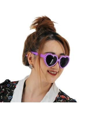 50's Purple & White Polka Dot Heart Frame Glasses