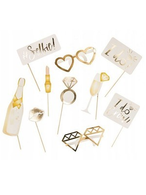 Ready Made Gold Wedding Props On Sticks