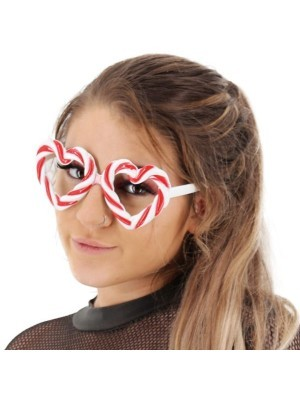 Red and White Candy Cane Heart Sweet Frame Christmas Glasses