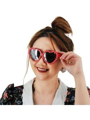 50's Red & White Polka Dot Heart Frame Glasses
