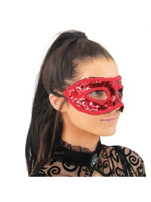 Sequin Masquerade Mask in Red