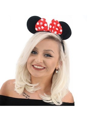 Mouse Style Ears and Red Spotty Bow