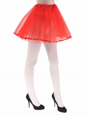 Adult - Red Tutu Skirt With Ribbon Trim