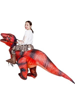 Ride A Scary Black & Red T-Rex Dinosaur Inflatable Fancy Dress Costume