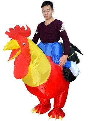 Rooster Ride Inflatable Joke Chicken Ride Illusion Fancy Dress Costume
