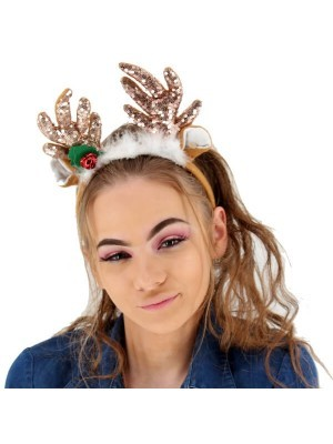 Rose Gold Glitzy Sequin Reindeer Antlers Headband