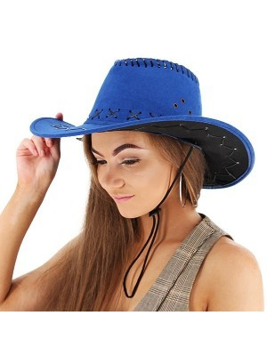 Royal Blue Suede Effect Cowboy Hat
