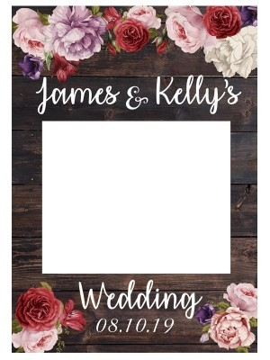 CUSTOM Rustic Wood with Flowers Fully Printed Posing Frame