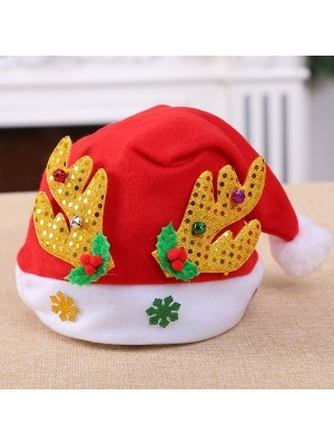 Santa Hat with Reindeer Antlers