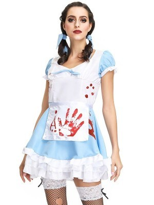Sexy Blood Printed Maid Halloween Fancy Dress Costume – UK 8-10
