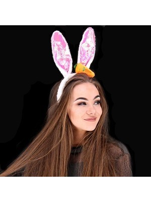 Shiny Carrot Easter Bunny Ears Headband In Pink