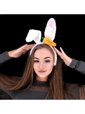 Shiny Carrot Easter Bunny Ears Headband In White