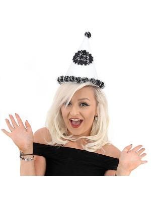 Silver Glitter 'Happy Birthday' Paper Hat