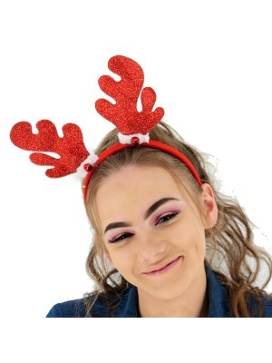 Sparkly Glitter Red Reindeer Antlers Headband