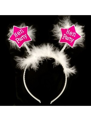 Pink Star 'Hen Party' Headband With White Fur