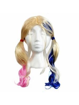 Scary Pink & Blue Cheerleader Wig