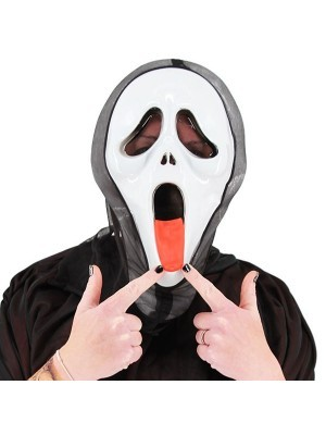 Screaming Ghost with Tongue Grim Reaper Style Head Mask Halloween Fancy Dress Costume