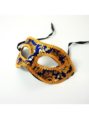 Venetian Embroided Blue with Gold Detail Masquerade Mask