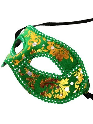 Venetian Embroided Green with Gold Detail Masquerade Mask Green