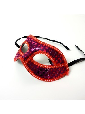 Sequined Venetian Cerise Embroided Masquerade Mask