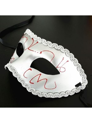 Shiny Venetian Silver with Red Detail Masquerade Mask