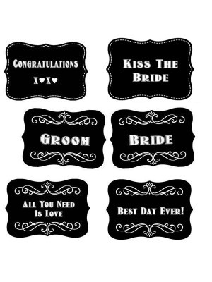 Vintage Style Wedding Word Board Multi Pack of 6