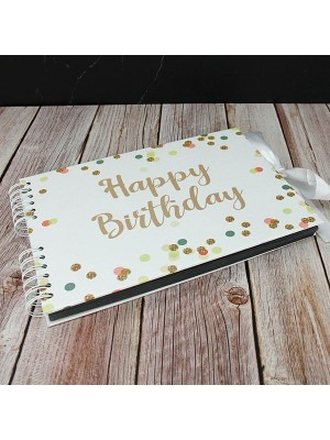 Good Size White Confetti Cover Happy Birthday Guestbook
