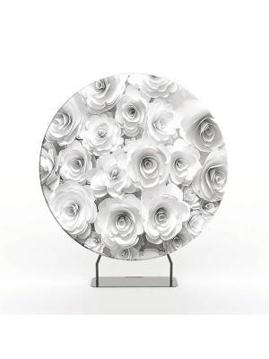 Circular 7ft White Roses and Glitzy Purple Backdrop & Tension Frame