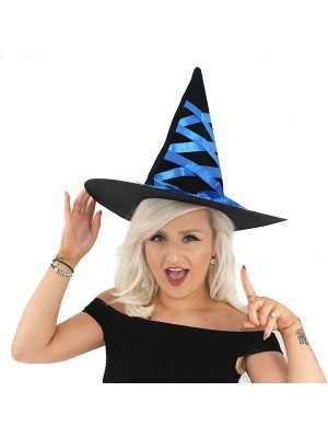 Black Witches Hat With Blue Ribbon