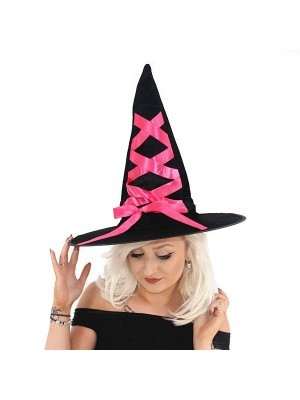 Black Witches Hat With Pink Ribbon