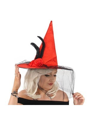Flowered Red Witches Pointed Hat with Net Veil Halloween Fancy Dress Accessory