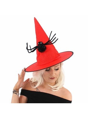 Red Witches Hat With Spider