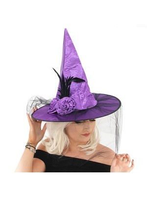 Flowered Purple Witches Pointed Hat with Net Veil Halloween Fancy Dress Accessory