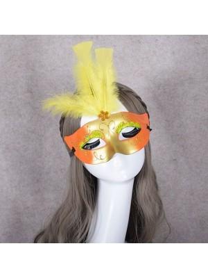 Feathered Masquerade Mask yellow