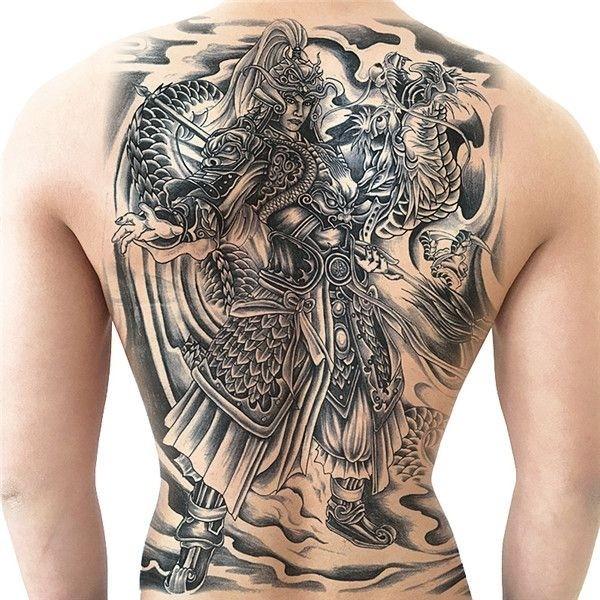 Samurai Warrior And Dragon Full Back Temporary Tattoo Body Art Transfer No 13