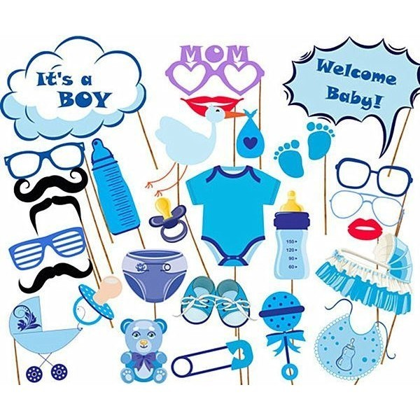 Baby Shower Fun Photo Booth Props Little Boy New Born Party Accessories